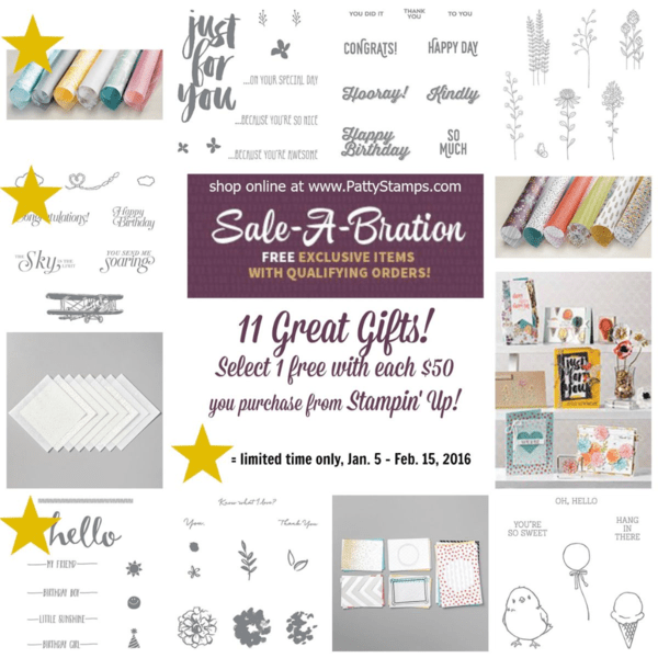 Limited time Stampin' UP! sale a bration 2016 products - shop now at pattystamps.com to receive these products free with each $50 order!
