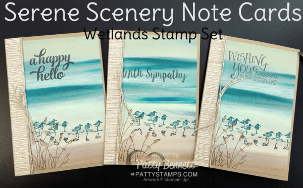 Wetlands stamp set and Serene Scenery Note Cards by Patty Bennett featuring Stampin' UP! paper stack and stamps.  Easy way to make a whole set of note cards - watch the video tutorial to see how to cut your 6x6 paper to maximize use with the Note Cards.