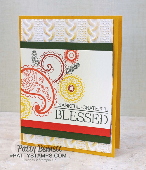 Stampin' UP! Paisleys & Posies stamp set card collection featuring Petals & Paisleys specialty DSP and cable knit embossing folder, by Patty Bennett