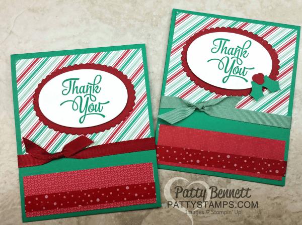Presents & Pinecones matchbook style card project by Patty Bennett featuring Stampin' Up! products