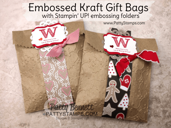 DIY embossed Kraft gift bags from Stampin' Up! with Holly embossing folder and Candy Cane Lane paper. Great gift wrap packaging for small gifts by Patty Bennett, www.PattyStamps.com