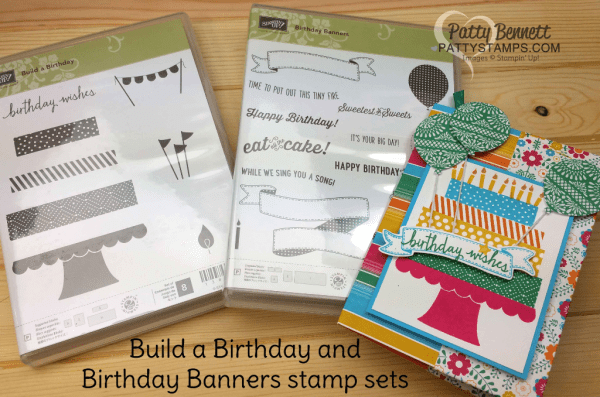 Festive birthday gift card holder made from one 12x12 sheet of Festive Birthday paper and Build a Birthday and Birthday Banners stamp set from Stampin' Up! by Patty Bennett