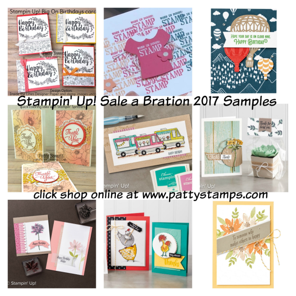 Stampin' Up! Sale a Bration project and card ideas for 2017.  Visit www.PattyStamps.com for more info.