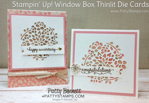 Floral Cards featuring Stampin' UP! Window Box thinlit dies and 3x3 scraps of Falling in Love designer paper.  Free Video Tutorial from Patty Bennett