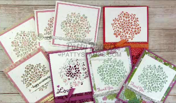 How To Video tutorial:  make easy floral cards with Stampin' Up! Window Box thinlit die and 3x3 scraps of designer paper. By Patty Bennett
