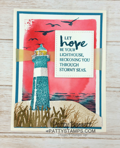 Watercolor Wash Backgrounds using clear block and ink pads for the Stampin' Up! High Tide Lighthouse set and grass die cut from the Basket Builder framelit set.  Cards stamped by Patty  Bennett