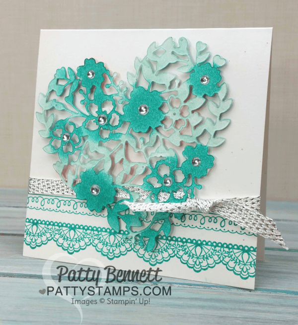 Bloomin' Heart thinlit die card ideas featuring Stampin' UP! products. Video tutorial by Patty Bennett