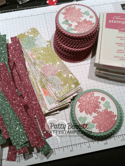 Supplies for Oh So Succulent stamp set cards featuring Succulent Garden paper and Sale-a-Bration glimmer paper, stitched shape and layering circle framelits from Stampin' Up!  cards by Patty Bennett