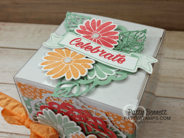 Stampin' Up! White Gift Box stamped and decorated with the Special Reason floral set and die cut with Stylish Stems framelits.  Stampin' Up! In Color Combo. project by Patty Bennett