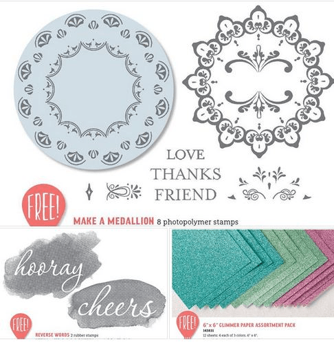 Stampin UP! sale a bration glimmer paper, reverse words and make a medallion stamp set available as your free item Feb. 21 to March 31, 2017