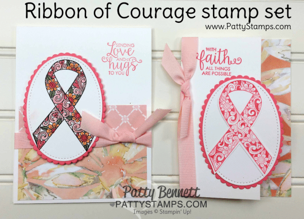 Ribbon of Courage stamp set from Stampin' Up! paired with the new Delightful Daisy designer paper. card ideas from Patty Bennett at www.pattystamps.com
