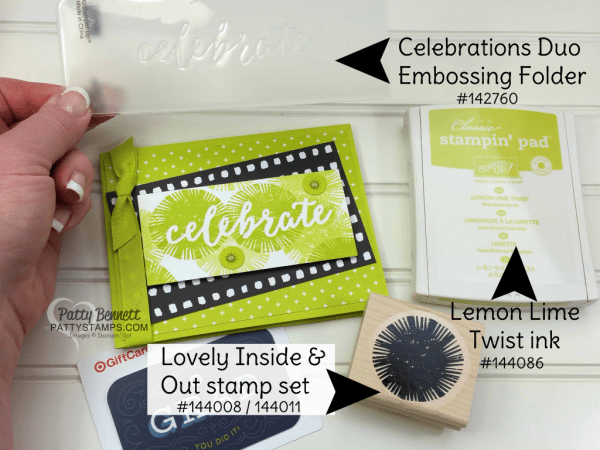 Supplies for the Lovely Inside and Out Lemon Lime Twist Celebrations Duo embossing folder card idea with Stampin' Up! supplies by Patty Bennett