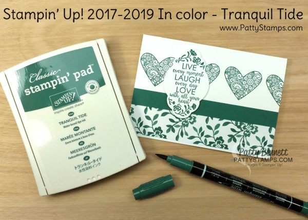 2017 2019 Stampin' UP! In Color Tranquil Tide card ideas featuring Ribbon of Courage and Label me Pretty stamp sets, Fresh Florals designer paper, and the Pretty Label Punch, by Patty Bennett