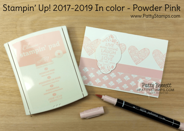 2017 2019 Stampin' UP! In Color Powder Pink card ideas featuring Ribbon of Courage and Label me Pretty stamp sets, Fresh Florals designer paper, and the Pretty Label Punch, by Patty Bennett
