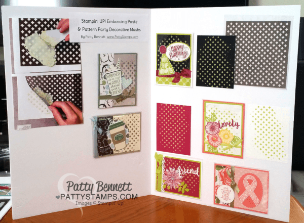 Display board with card ideas featuring Stampin' Up! Embossing Paste & Pattern Party masks by Patty Bennett
