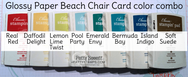 Stampin' UP! color combo for the Glossy paper beach chair card featuring the Stampin' UP! adirondak chair framelit die from the Seasonal Layers framelitsm and Fabulous Flamingo stamp set..  Watch the free video tutorial on my blog to make this card. By Patty Bennett, Stampin' UP! demonstrator.