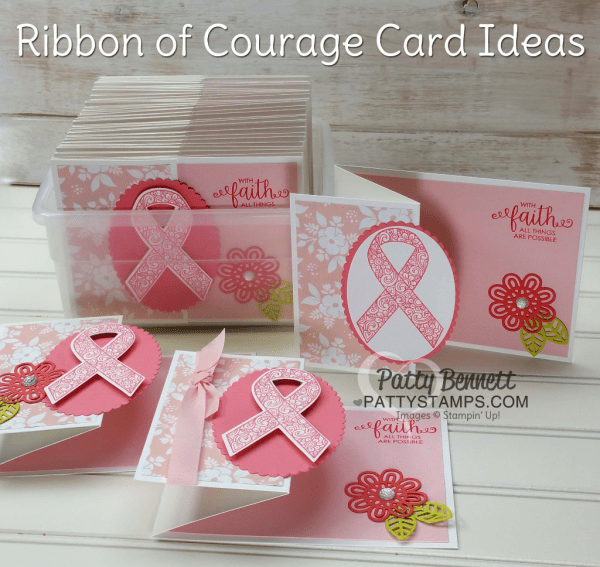 With Faith all things are Possible, Ribbon of Courage Stampin' Up! swap card by Patty Bennett for the June Luv 2 Stamp Group demonstrator meeting.