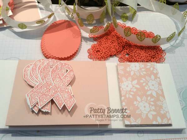 Supplies for With Faith all things are Possible, Ribbon of Courage Stampin' Up! swap card by Patty Bennett for the June Luv 2 Stamp Group demonstrator meeting.