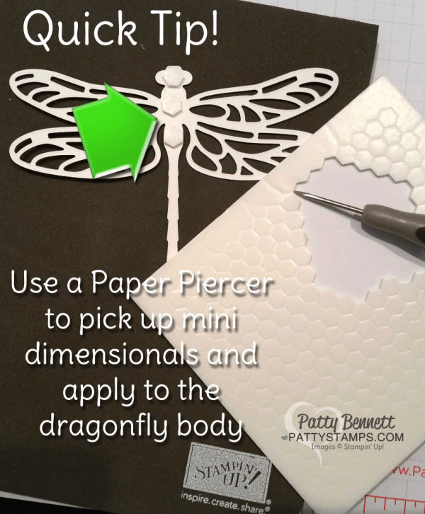 Quick tip for using Stampin' UP! Mini Dimensionals for the Detailed Dragonfly thinlit die cuts on your cards and crafty diy projects.