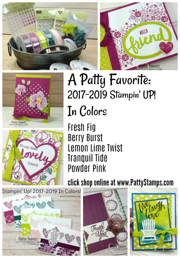 Patty Bennett Favorite: 2017-2019 Stampin' UP! In Color selection card ideas