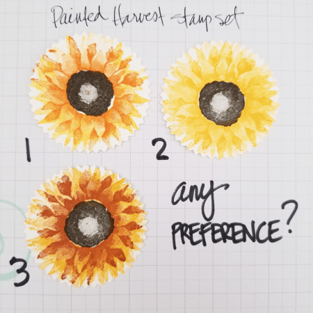 Painted Harvest stamp set sunflower stamping tips and color combo by Patty Bennett.  Stampin' UP! 2017 Holiday catalog.