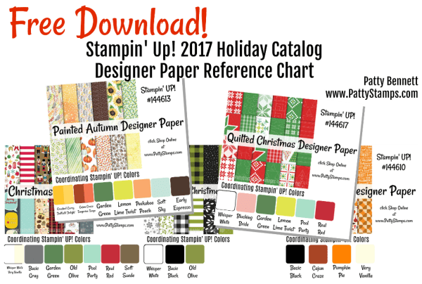 2017 Stampin' Up! Holiday Catalog designer paper free download - patterns and coordinating color chart from Patty Bennett