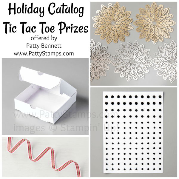 Tic tac toe prizes available from Patty Bennett when you purchase from the 2017 Stampin UP! Holiday catalog from Patty Bennett at www.PattyStamps.com