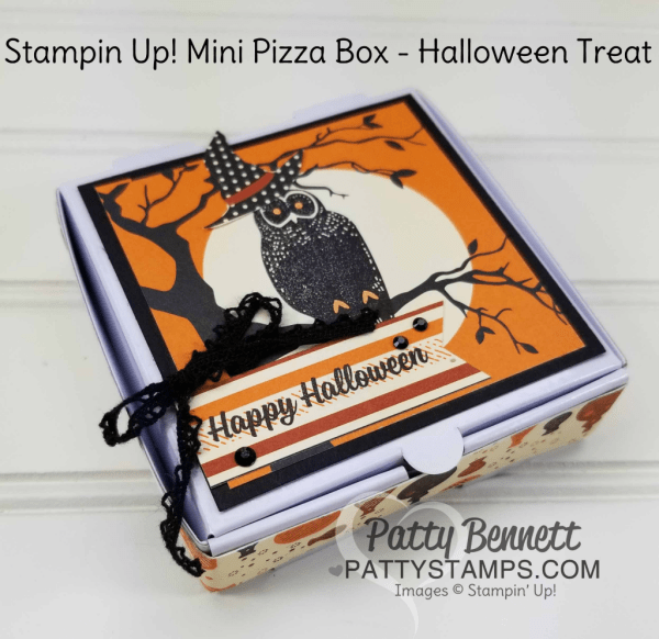 Spooky Night mini pizza box for Halloween featuring Stampin' Up! Spooky Night designer paper, owl stamp Spooky Cat stamp set, by Patty Bennett