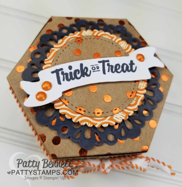 Halloween Treat featuring Stampin' UP! Window Box thinlit, metallic foil doily, Spooky Cat stamp set, and Spooky Night designer paper, by Patty Bennett