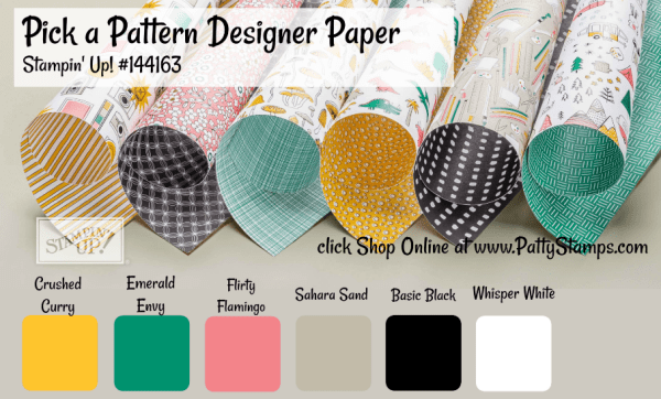 144163 Pick a Pattern designer paper pack from Stampin' UP! - click shop online at www.pattystamps.com