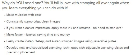 Features and Benefits of the Stampin' Up! Stamparatus stamp positioning tool