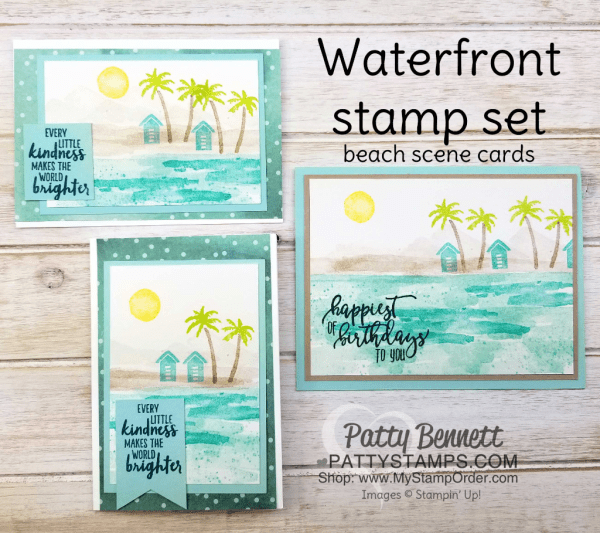 Waterfront stamp set from Stampin' Up!: 2018 Occasions catalog.  Beach scene card sample ideas by Patty Bennett