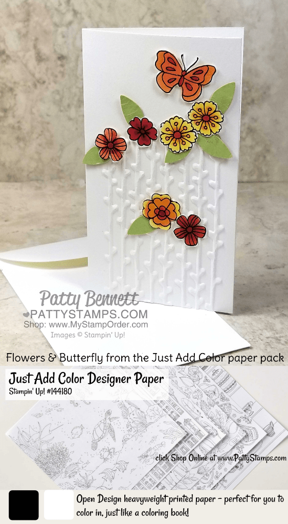 Handmade card idea featuring the Stampin' Up! Petal Pair embossing folder and Narrow Note Cards with Just Add Color designer paper by Patty Bennett