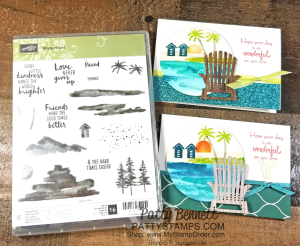 Waterfront cards handstamped by Patty Bennett featuring beach scene and die cut Adirondak chairs