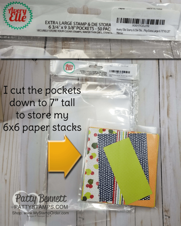 Tip for storing 6x6 paper stacks in your craft room, by Patty Bennett