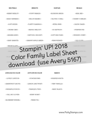 Free Download: 2018 Stampin UP! NEW Colors - labels to print on Avery 5167