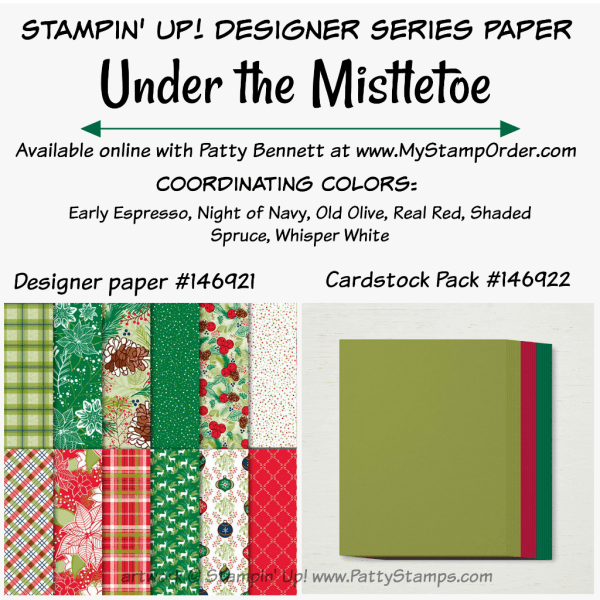 Stampin' UP! Under the Mistletoe designer paper and coordinating cardstock pack available at www.MyStampOrder.com