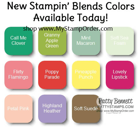 New Stampin' Blends alcohol marker colors now available, shop with Patty at www.MyStampOrder.com