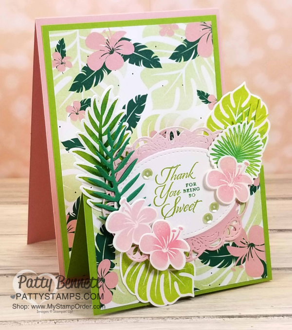 Tropical Chic Double Easel (or Z Fold) card idea featuring Stampin' UP! paper stack, stamp set and framelit dies, by Patty Bennett. Supplies available at www.MyStampOrder.com