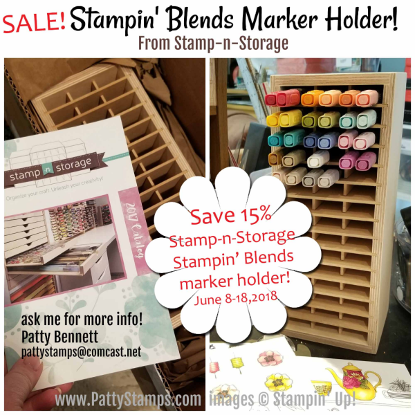 Stampin' UP! Stampin' Blends alcohol markers in rainbow order. Patty's craft room organization tips. Stamp-n-Storage wood storage units. www.PattyStamps.com