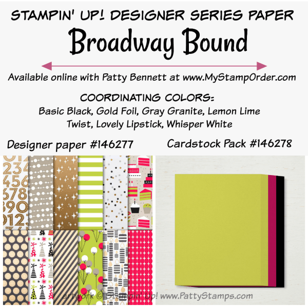 Stampin' UP! Broadway Bound designer paper and coordinating cardstock pack available at www.MyStampOrder.com
