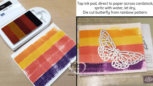 Ink your own Stampin' UP! spectrum ink pad with a rainbow of ink refills!  Butterfly die cut from the Springtime Impressions thinlits. Details at www.PattyStamps.com