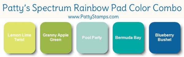 Color combo of blue and green for my Stampin' UP! spectrum rainbow pad, by Patty Bennett www.PattyStamps.com