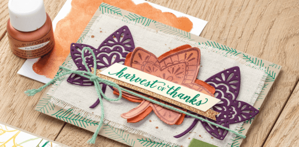 Stampin' Up! fall card idea featuring Bright Copper Shimmer Paint and Falling for Leaves stamp set.  www.MyStampOrder.com