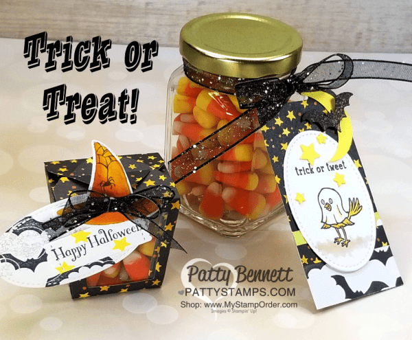 Trick or Treat Halloween packaging idea featuring Stampin' UP! Take Out Treat thinlit die cut and Toil & Trouble designer paper. by Patty Bennett www.PattyStamps.com