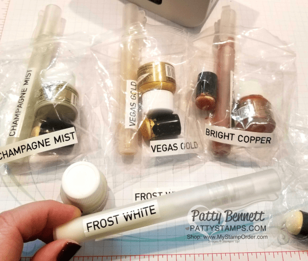 Shimmer Paint Tip!!  Label sponge dauber and Stampin' Spritzer with Brother P-Touch labeler for each color of Shimmer Paint. www.PattyStamps.com
