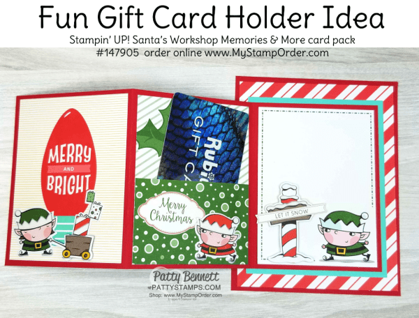 DIY Gift Card Holder Idea featuring Stampin' UP! Santa's Workshop Memories & More card pack, by Patty Bennett www.PattyStamps.com