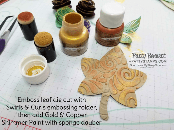 Stampin' UP! Fall Leaf featuring the Detailed Leaves framelit dies and Shimmer Paint!  Patty Bennett, www.PattyStamps.com
