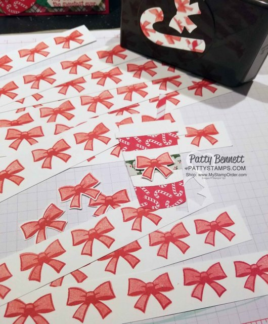 Candy Cane Builder Punch bow stamped in Stampin' UP! Real Red ink on Whisper White scrap strips, then punched out for my Coffee Cafe Christmas Cards. By Patty Bennett www.PattyStamps.com