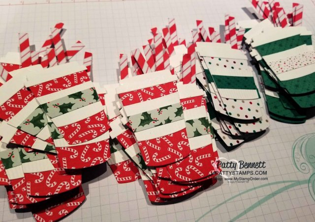 Santa's Workshop Designer Paper candy cane coffee cups & straws! Coffee Cup Framelits Christmas Card Idea featuring Stampin' UP! designer paper and Candy Cane bow punch. Perfect for a Starbucks gift card at the holidays! by Patty Bennett www.PattyStamps.com